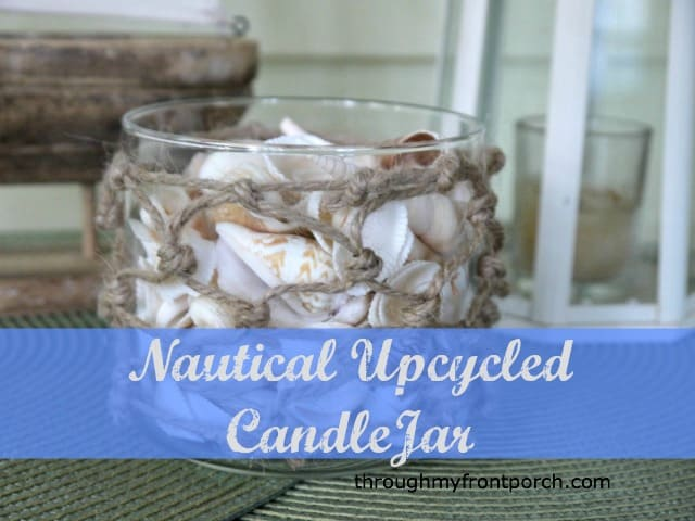 Nautical Upcycled  Candle Jar Inpired