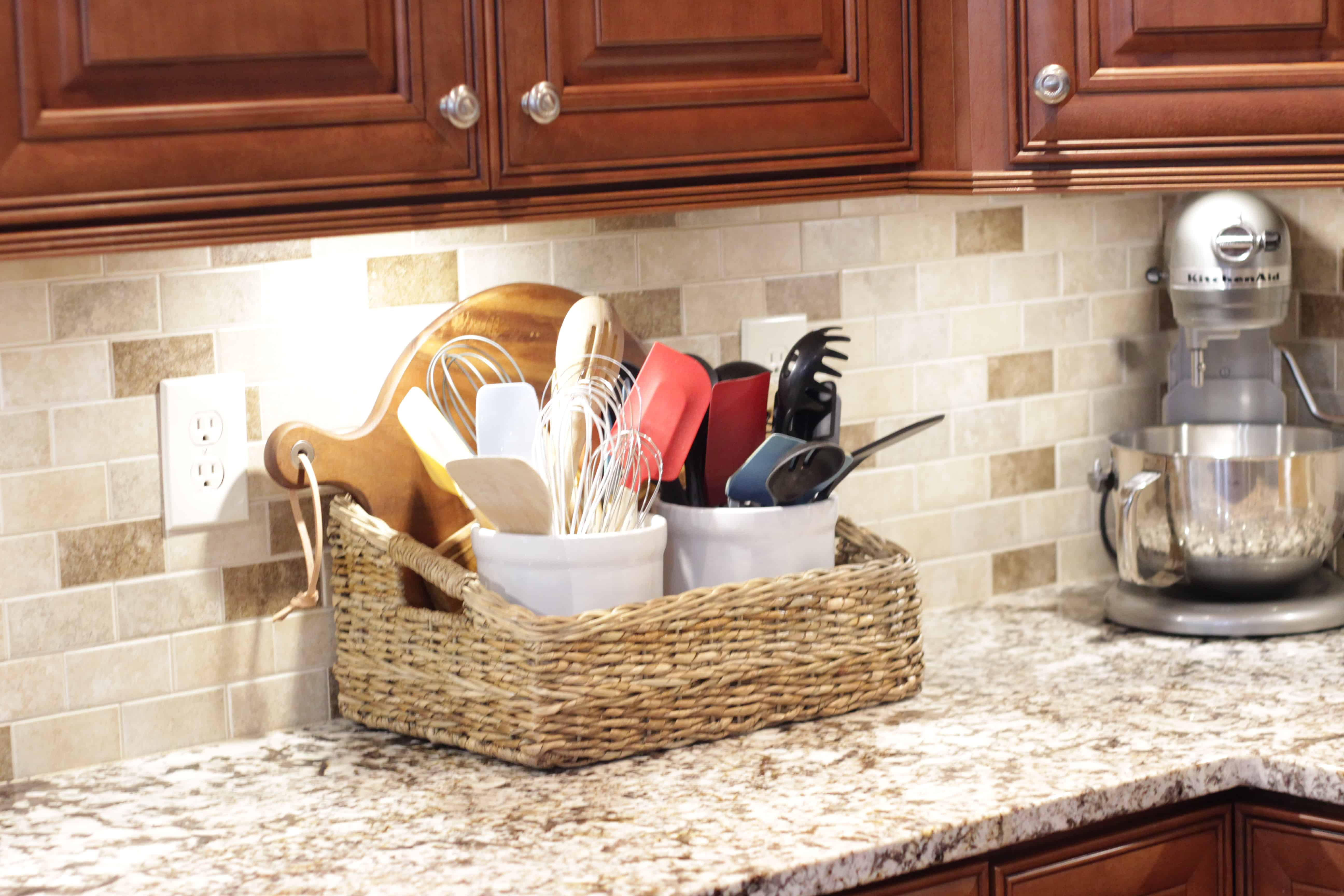 Use Baskets To Organize Your Small Kitchen Through My Front Porch